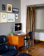 Small studio apartment home office and bedroom into one room